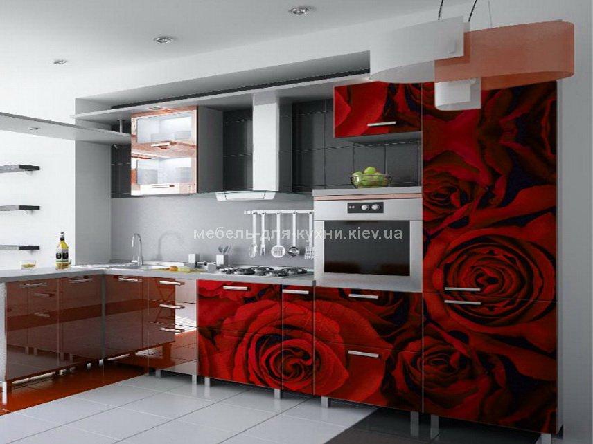кухня с красными розами