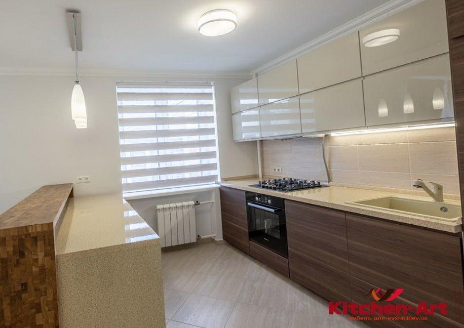 деревянная п-образная из дсп кухня под заказ в БУче