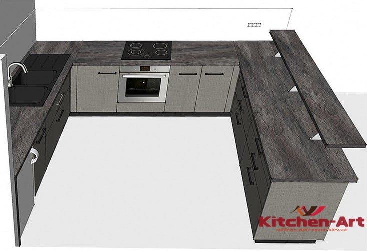 проект п образной кухни в стиле лофт