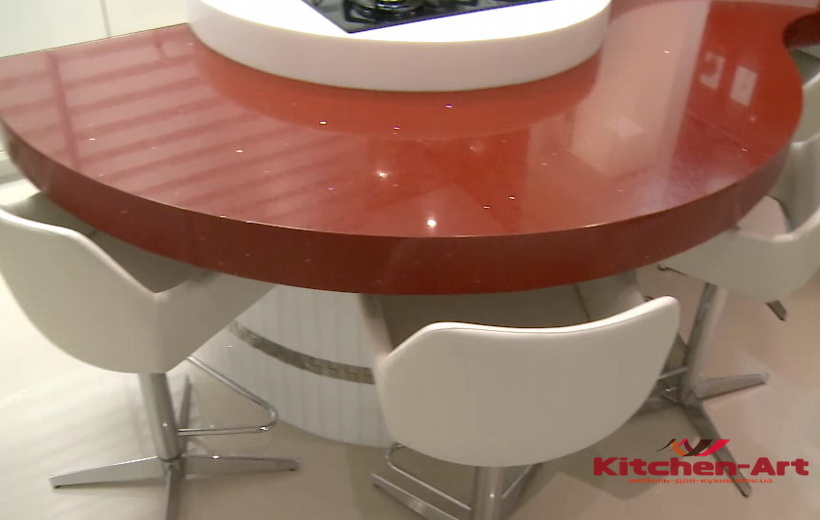 красная радиусная кухня на заказ КИев