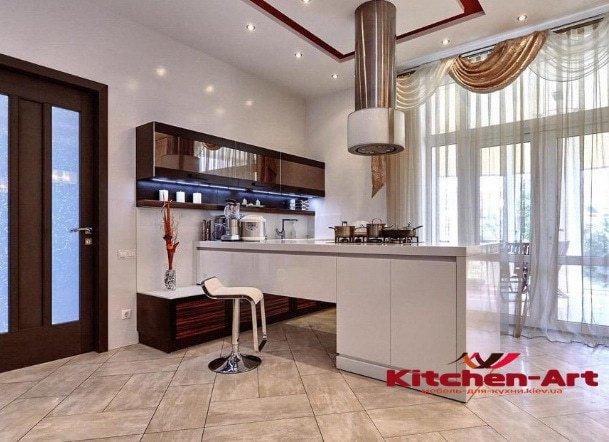 глянцевая угловая кухонная мебель на заказ