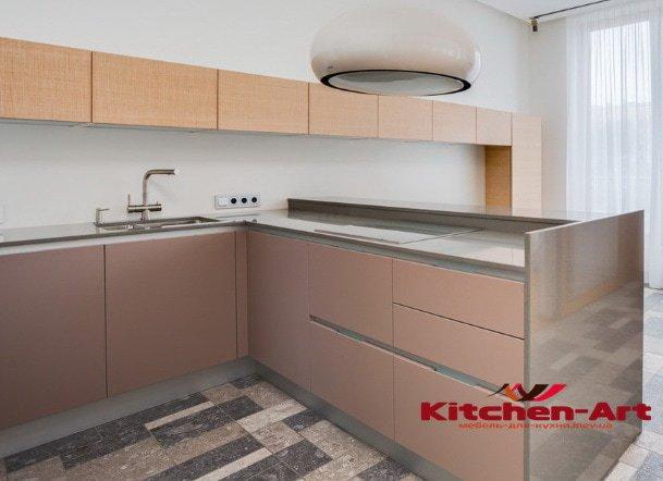 глянцевая угловая кухонная мебель на заказ в Киеве