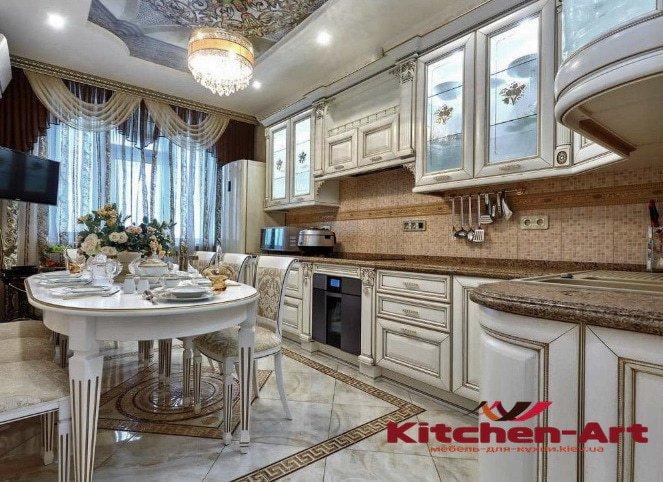 деревянная эксклюзивная угловая кухня на заказ в Борисполе