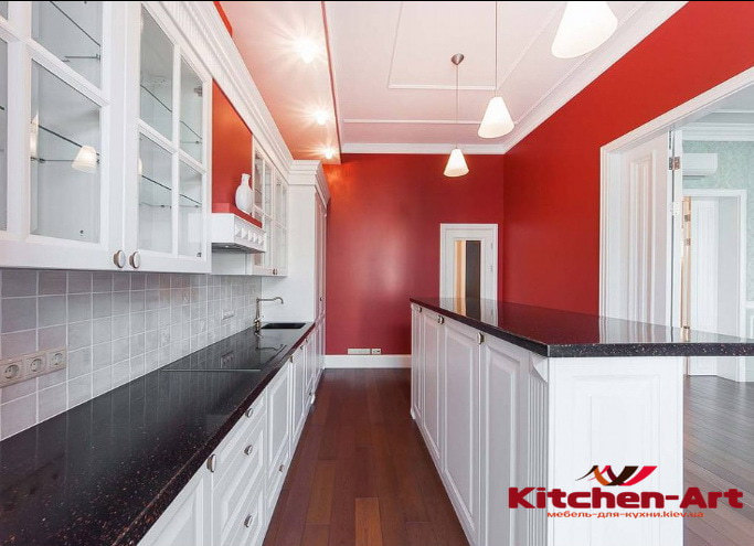 белая нестандартная кухонная мебель от производителя