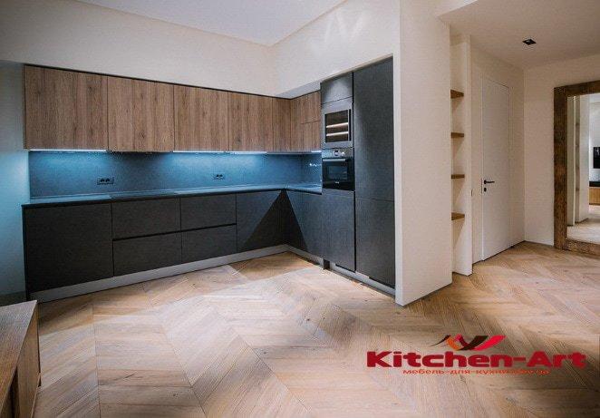 угловая кухонная мебель в стиле лофт