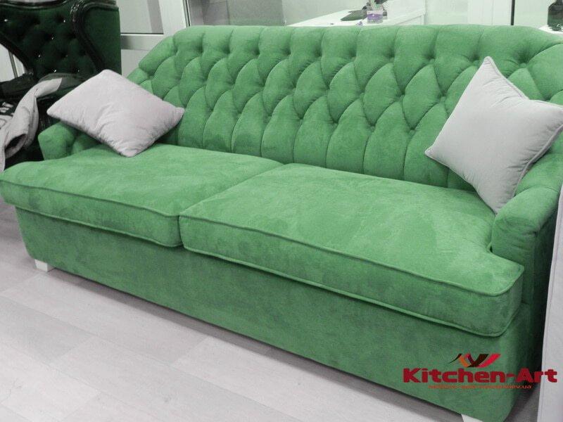 Зеленый диван в кухню на заказ