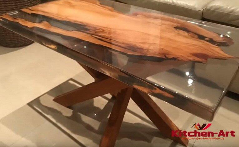 Кухонный столы слэб с эпоксидной смолой