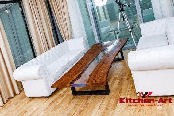 стол из массива дерева река в гостинную на заказ