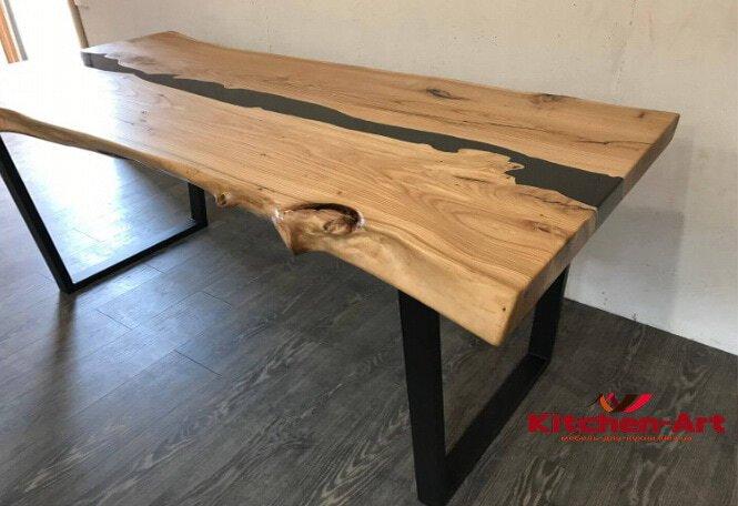 стол из массива дерева река с подсветкой под заказ