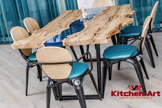 стол из массива дерева река с подсветкой