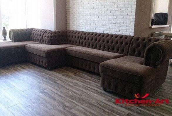 модульный диван честер по периметру стены