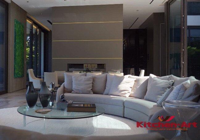полукруглый диван белый