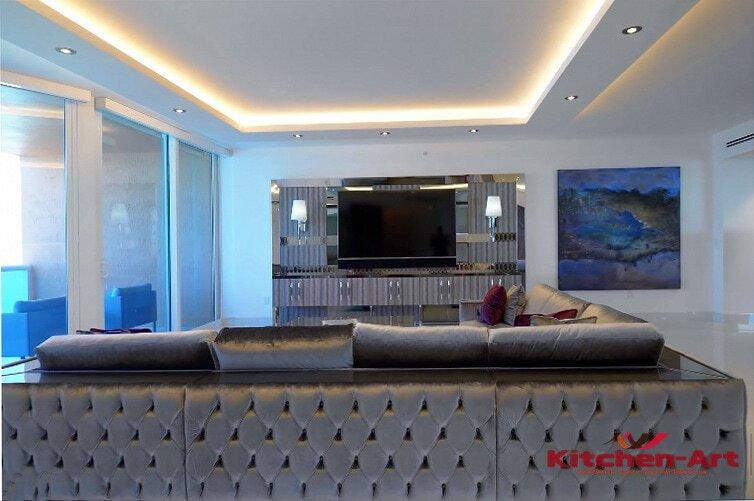 диван в гостинную честер голубой п образный