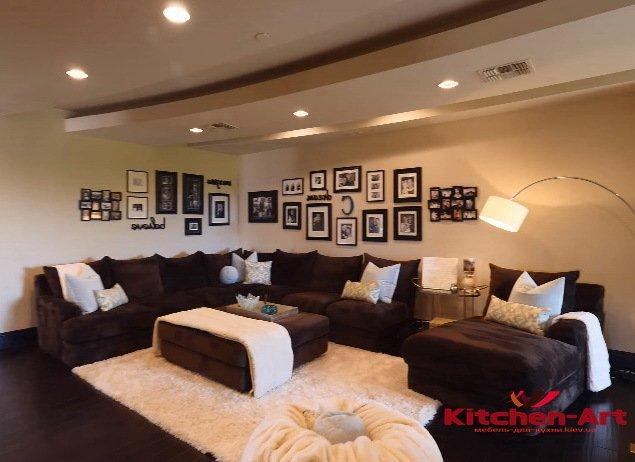 коричневый большой диван в гостинную на заказ