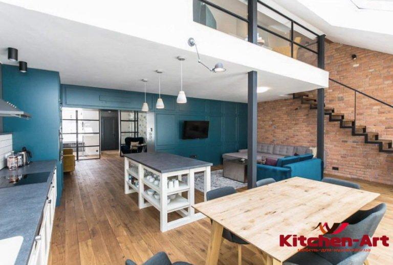 кухня из дуба синего цвета