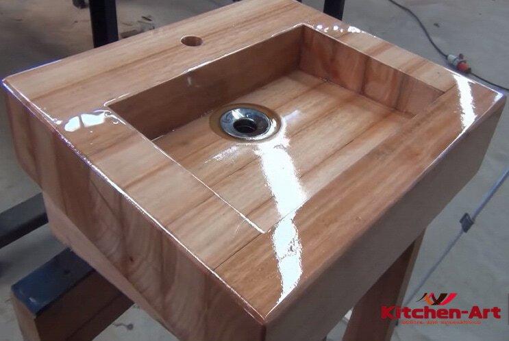Купить умывальники и раковины из дерева
