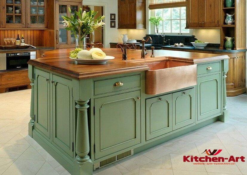 зеленый кухонный остров