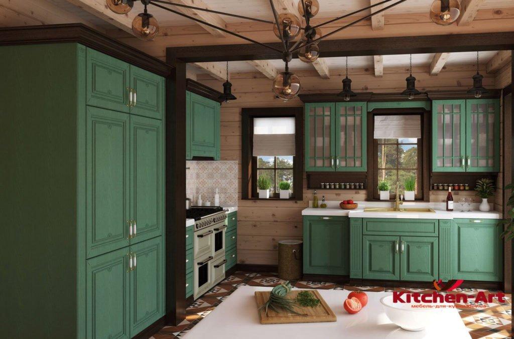 Угловая зеленая кухня на заказ