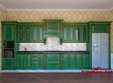 Прямая зеленая кухня под заказ
