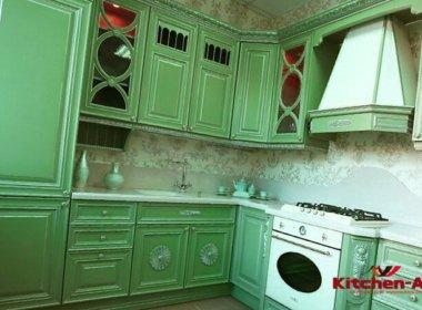 Дизайнерская зеленая кухня
