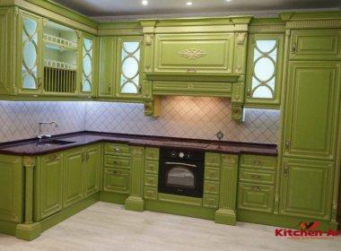 Дизайнерская зеленая кухня на заказ