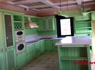 П образная зеленая кухня