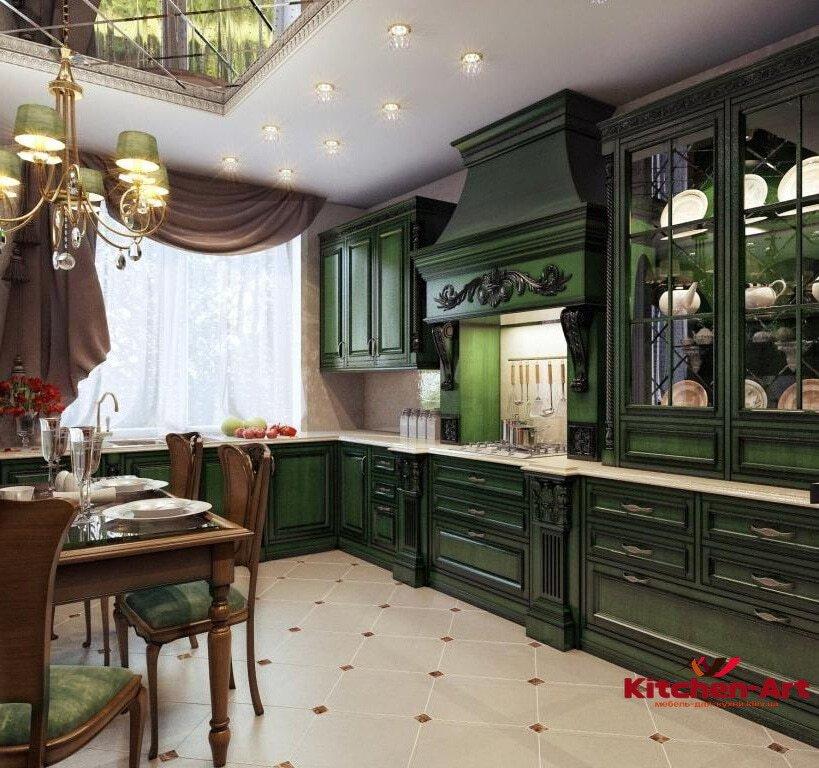 зелная кухня в классическом стиле
