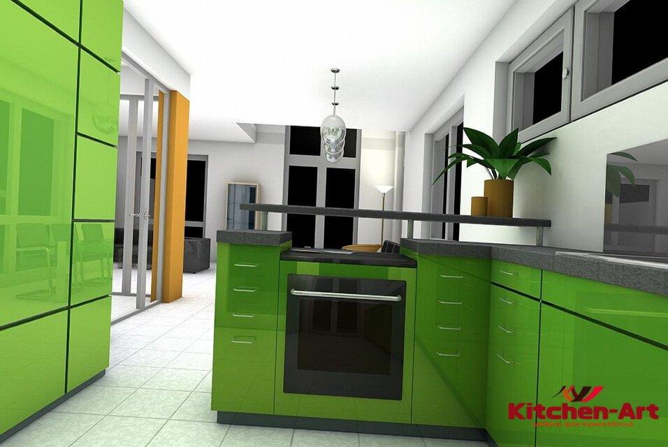 Зеленая кухня модерн