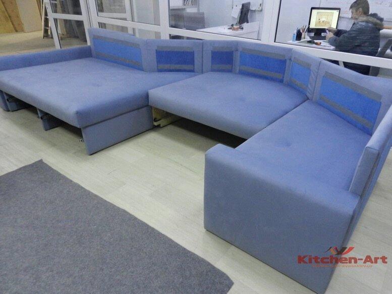 гоубой угловой диван под заказ