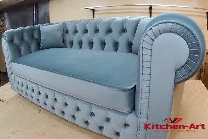 изготовление диванов прямой формы голбого цвета