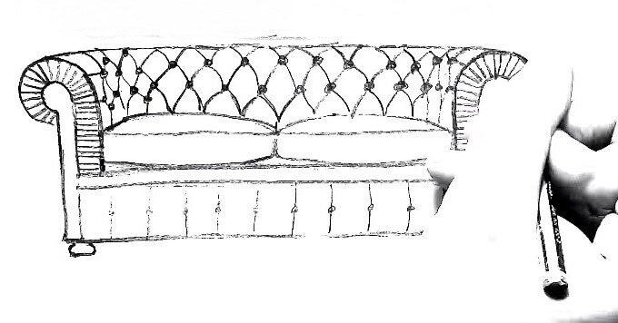 чертеж прямого дивана
