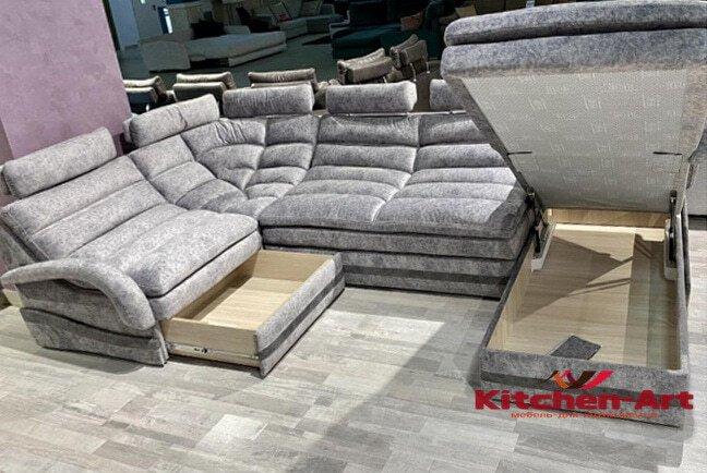 п образный диван под заказ со спальным местом с нишей для белья