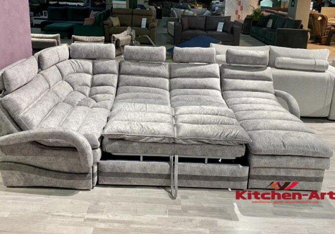 светлый п образный диван на заказ