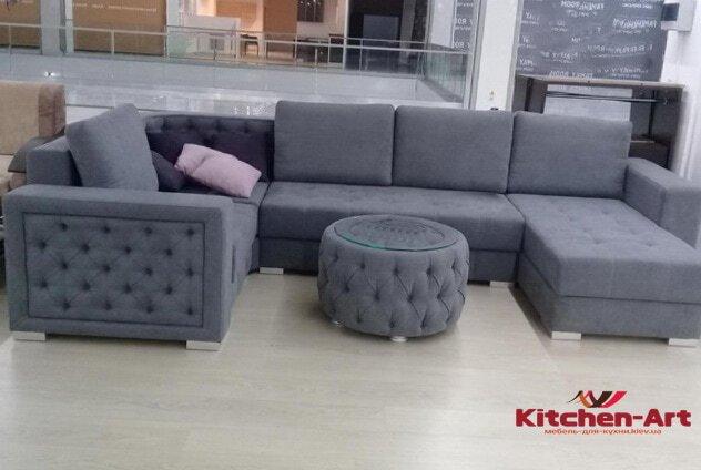 диван с пуфиком серый на заказ