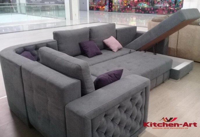 эксклюзивный серый угловой диван