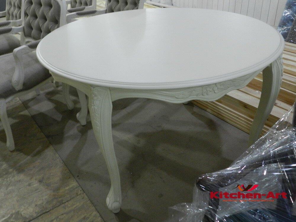 белый круглый обеденный стол нa заказ