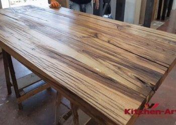 изготовление обеденного стола из массива дуба