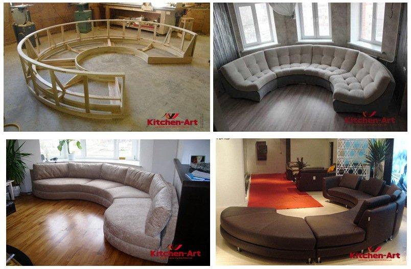 радиусный диван для гостиной под заказ