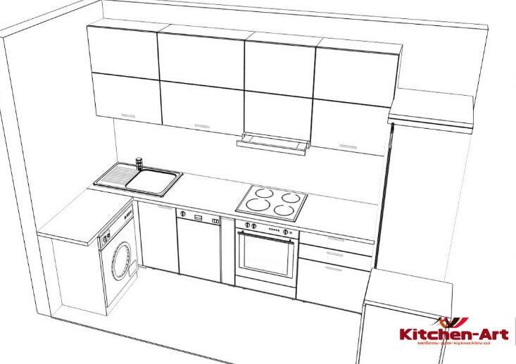 проект угловой кухни синей