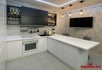 черно белая современной угловая кухня