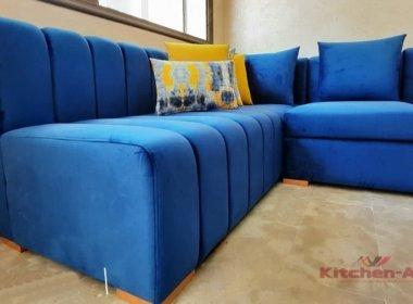 синий угловой диван с подушкой на заказ